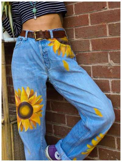 Fashion Casual Print Jean Pants