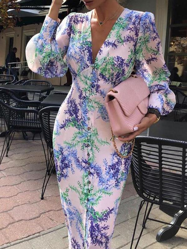 Sexy women printed v neck bodycon dresses