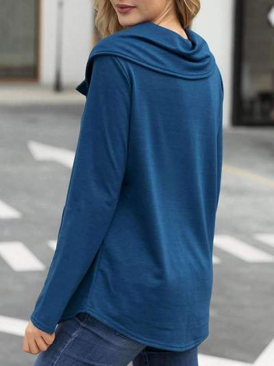Fashion Pure Long sleeve Fastener Pocket T-Shirts