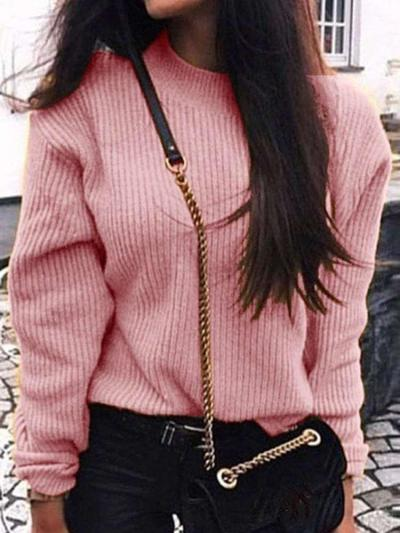 Loose Pure Knit Long sleeve Sweaters