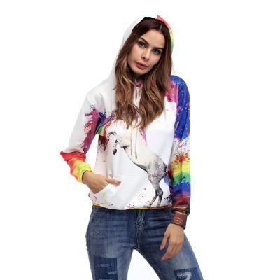 Women Floral  Unicorn Long sleeve Hoodies & Sweatshirts
