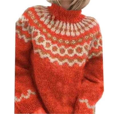 Fashion Print High collar Long sleeve Knit Sweaters