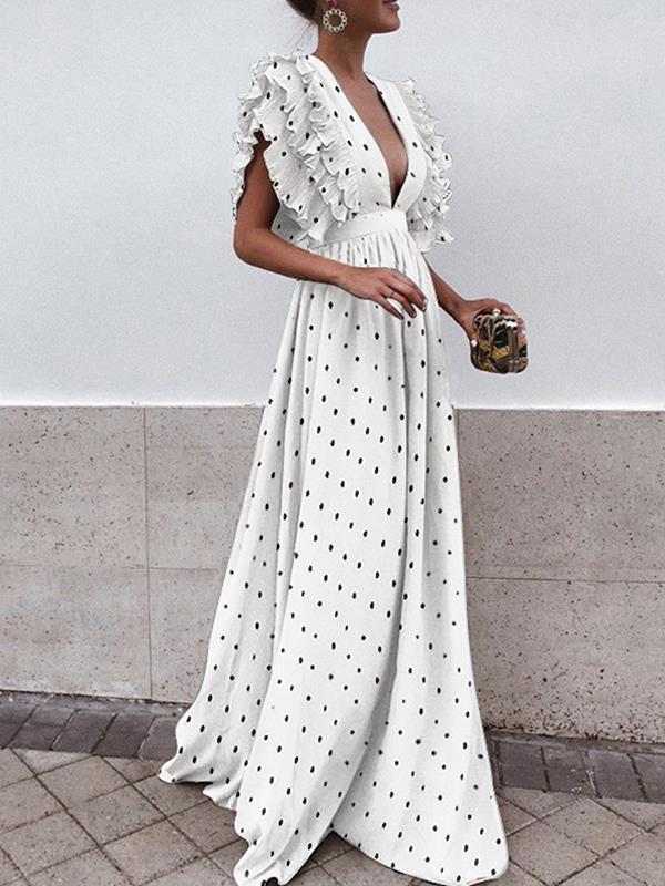 Flap-sleeve v-neck halter wave pot maxi dresses