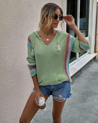 Fashion Stripe V neck Long sleeve Knit Hoodies Sweatshirts