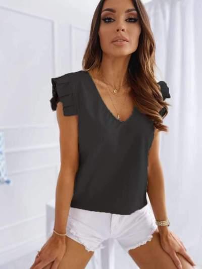 Fashion Pure Sleeveless V neck Falbala T-Shirts