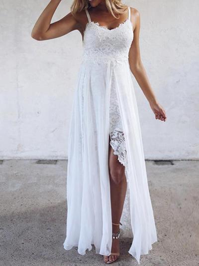 Lace slit irregular hem v-neck strap evening dresses