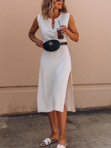White Women V neck Sleeveless Maxi Dresses