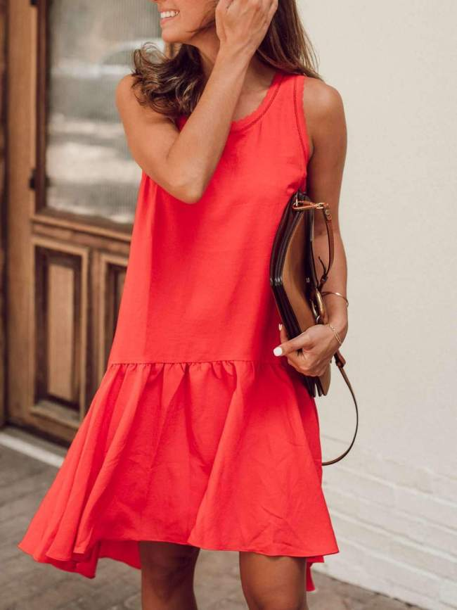Fashion Casual Pure Round neck Sleeveless Gored Falbala Shift Dresses