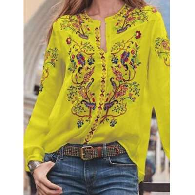 Fashion Print Round neck Long sleeve Blouses