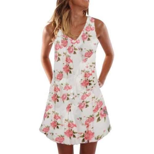 Casual Print Sleeveless V neck Shift Dresses