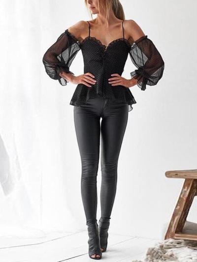 women chiffon polka dot halter sleeve Fashion Blouses