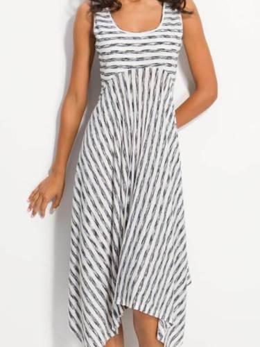 Sleeveless Women Round Neck Stripe Maxi Dresses