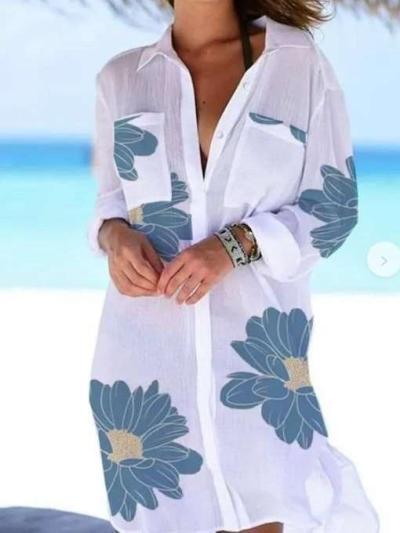 Casual Loose Print Lapel Long sleeve Shirt Shift Dresses