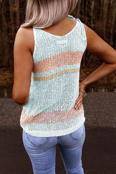 Casual V neck Vest Knit T-Shirts