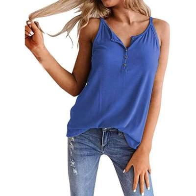 Fashion Pure Fastener Round neck Sleeveless Vest T-Shirts