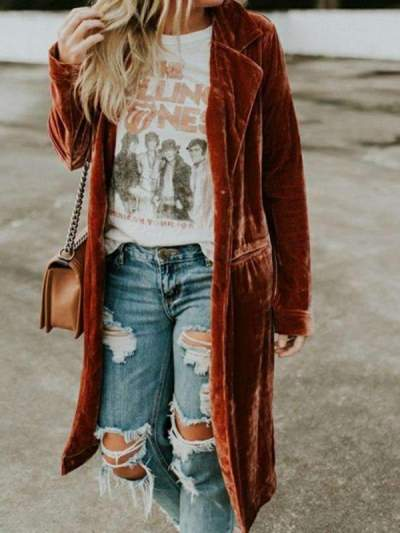 Fashion Casual Pure Pleuche Lapel Long sleeve Coats