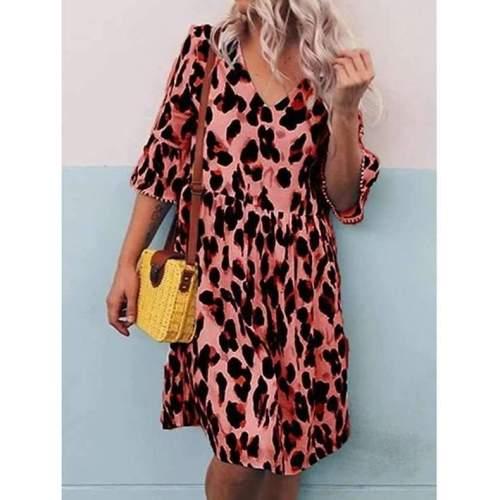 Fashion Casual Loose Leopard print V neck Gored Half sleeve Shift Dresses
