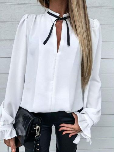 Fashion Pure Lacing Sand collar Long sleeve Blouses