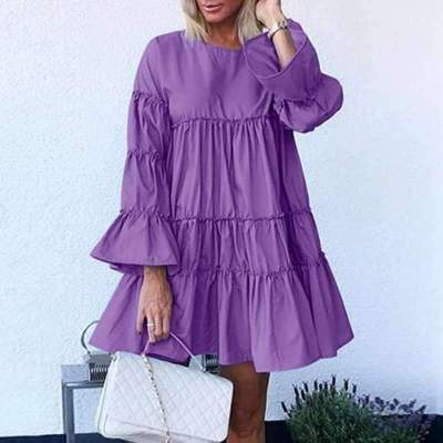Fashion Casual Loose Pure Gored Round neck Long sleeve Shift Dresses