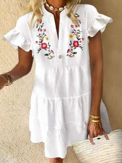 Casual Loose Print V neck Short sleeve Gored Falbala Shift Dresses