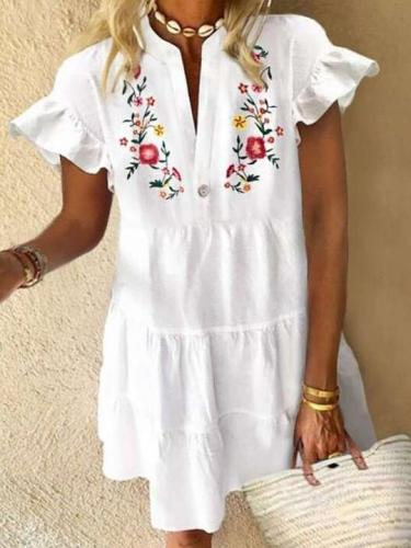 Casual Loose Print V neck Short sleeve Gored Falbala Shift Dresses