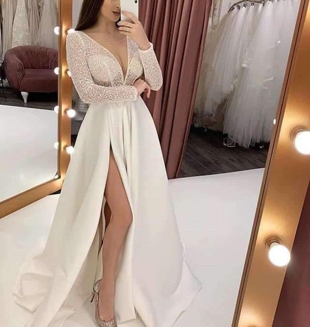 Sexy V neck  Perspective Evening Dresses