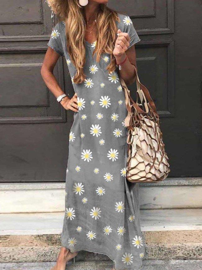 Fashion Print V neck Short sleeve Maxi Dresses