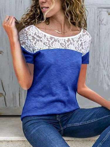 Round neck loose short sleeved Lace spliced T-shirt