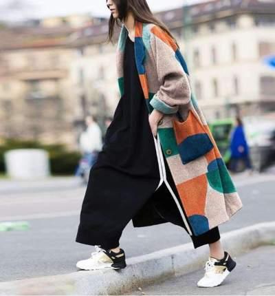 Women big lapel long sleeve printed long coats