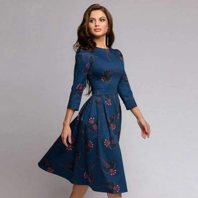 Fashion Print Long sleeve Skater Dresses