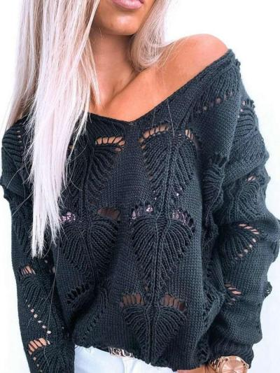 Casual Loose Pure Hollow out V neck Long sleeve Sweaters