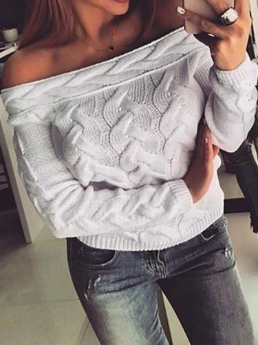 Fashion Plait Pure One shoulder Long sleeve Sweaters