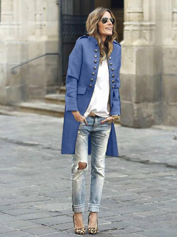 Stylish button stand up collar long sleeve blazer coats