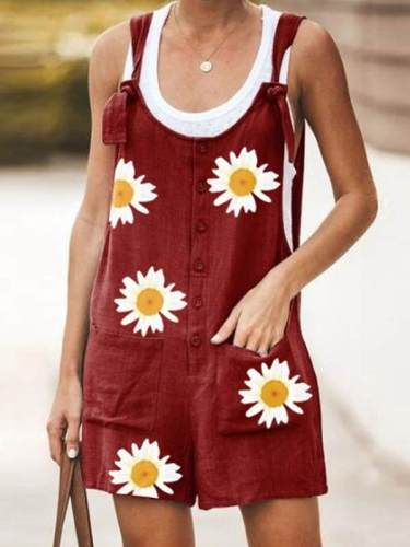 Round neck Daisy printed short jumpsuits