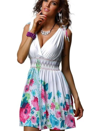 Sexy V neck Print Sleeveless Skater Dresses