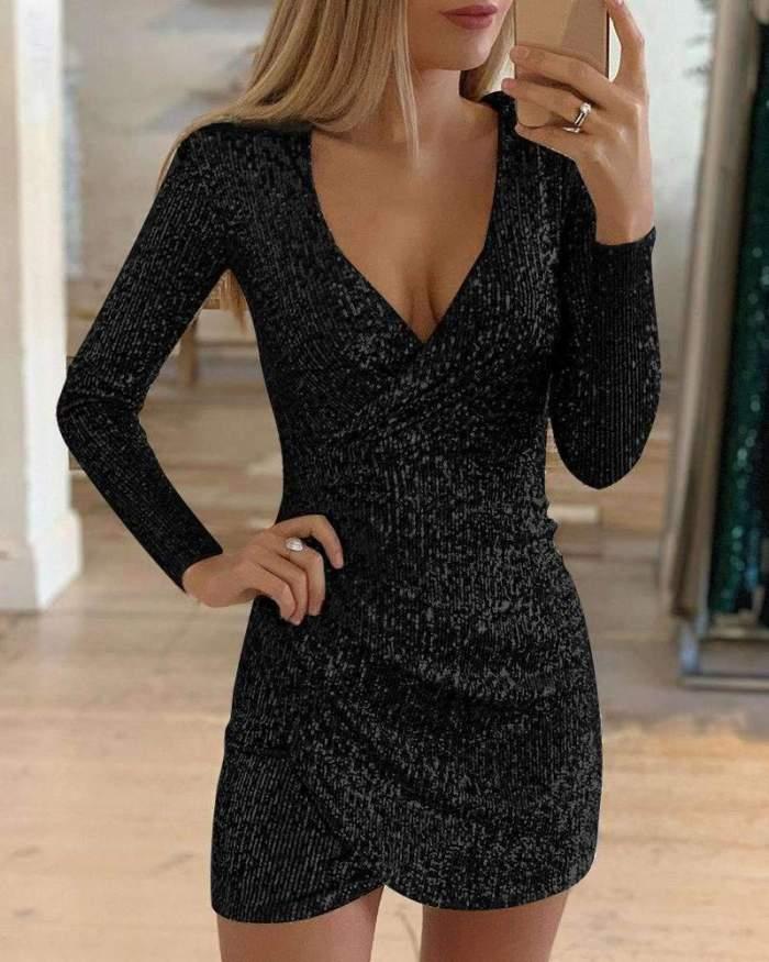Sexy V neck Irregular Paillette Evening Dresses