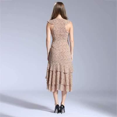 Sexy Print V neck Sleeveless Falbala Irregular Skater Dresses
