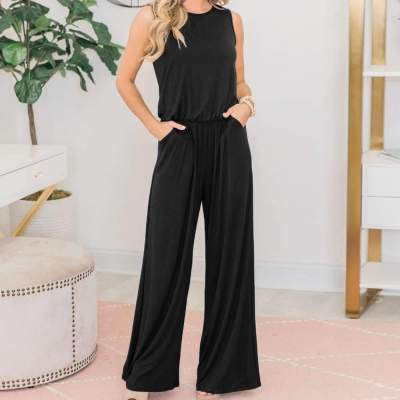 Loose Casual Sleeveless Pocket Jumpsuits