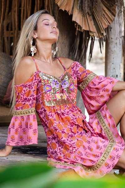 Fashion V neck Vest Print Off shoulder Half sleeve Shift Dresses