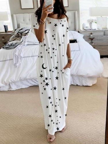 Fashion Casual Round neck Print Short sleeve Maxi Dresses