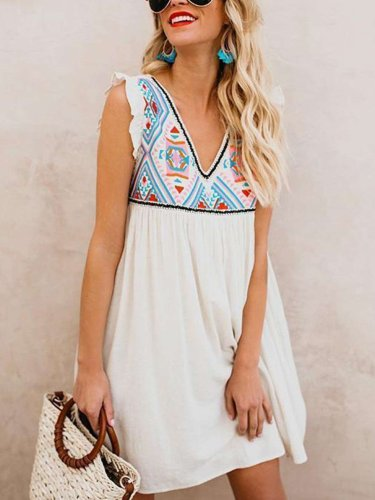 Fashion Casual Gored Print V neck Sleeveless Shift Dresses
