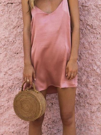 Women fashion plain v neck sleeveless strap mini shift dresses