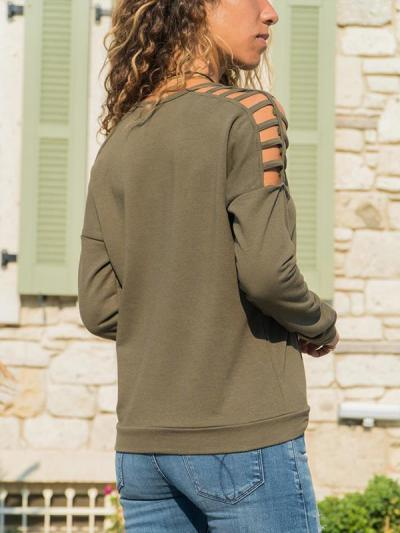 Long sleeve hollowed-out round neck T-shirts