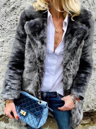 Solid colour long sleeve big lapel women coats