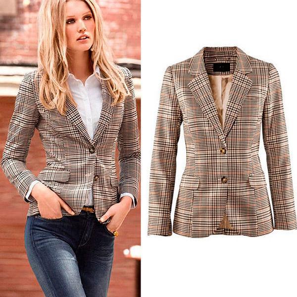 Hot Grid Woman Autumn Fashion Blazer
