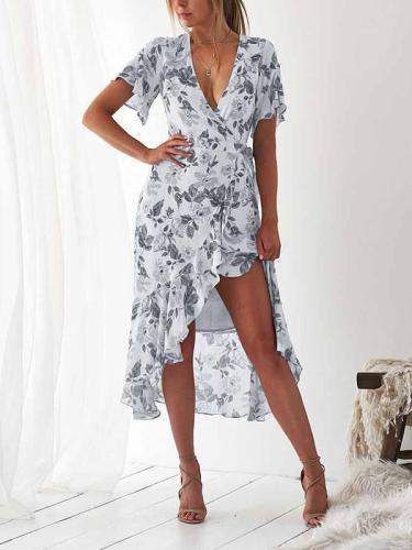 Women fashion Printed Short Sleeve Skater Iregular Hem Skater Dresses