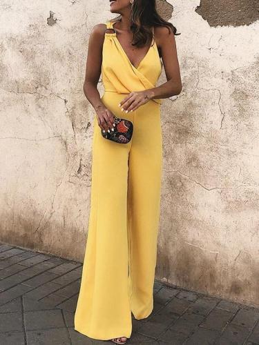 Sexy suspenders and stylish v-neck sleeveless jumpsuits