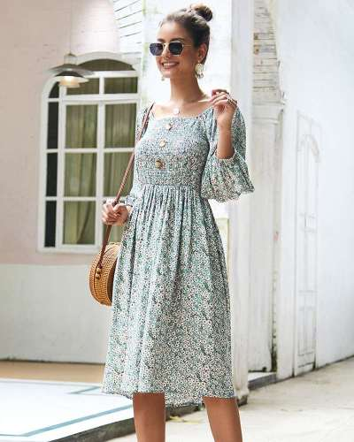 Fashion Floral Long sleeve Skater Dresses