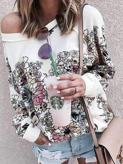 Women Fashion Round neck Doodled Daisy Sweatshirts