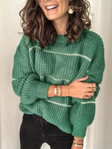 Simple round neck stripe women sweaters